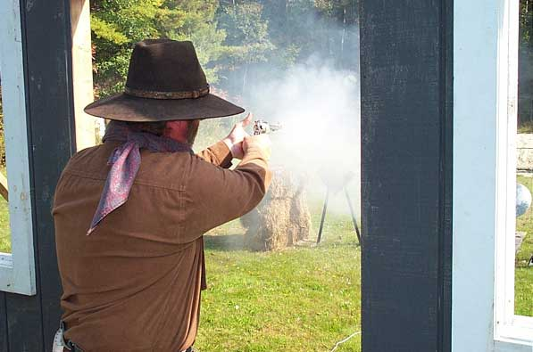 Shooting pistol at Outlaws Revenge in Falmouth.