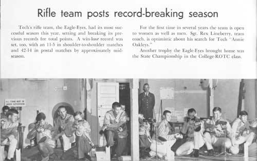 1965 yearbook article on the Tech Rifle Team