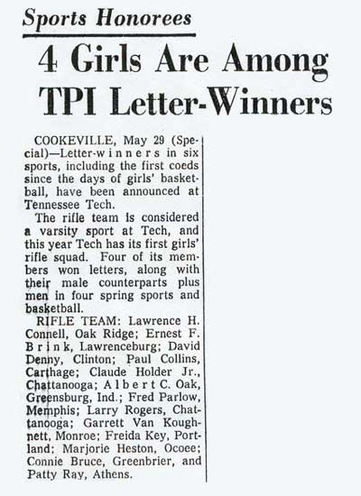1965 article on Letterwinners