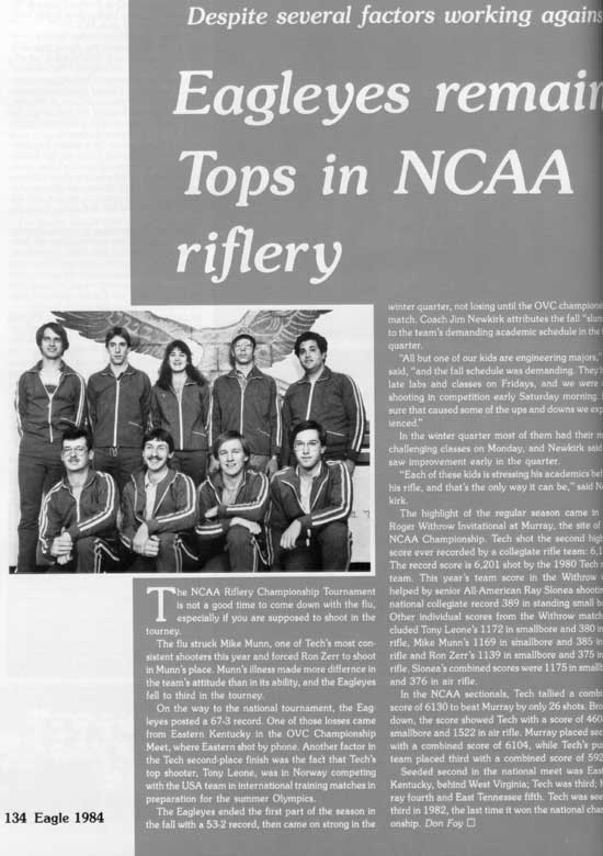 1984 yearbook article on TTU Rifle Team